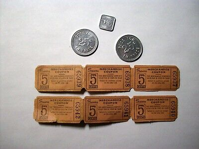 Lot Vintage Tokens Coupons Chicago Illionis College Complex Sears Retailers Occu