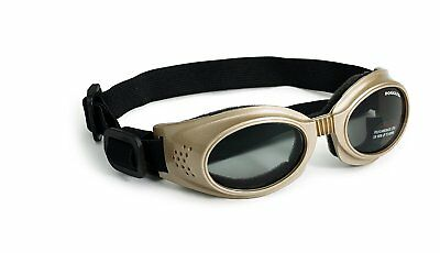 Doggles Originalz Frame Large Goggles for Dogs with Smoke Lens, Chrome