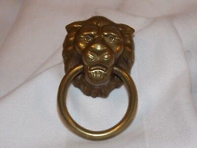 Lion's Head with Ring Brass Drawer Pull Handle Vintage