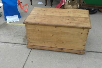 Antique Victorian  Old Pine Chest / Wooden Trunk / Blanket Box/Storage/table