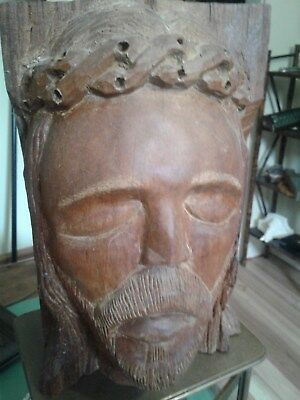 Early Antique Religious Christian Wood Carving Sculpture Head Bust