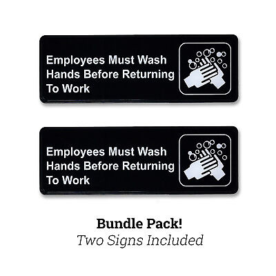 """9"""" x 3"""" Employees Must Wash Hands Policy Sign w/ Adhesive Back - Black - 2 PACK"""