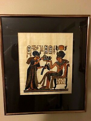 Framed/Matted Egyptian Egypt Art on Papyrus Paper Parchment artwork 12 x 14