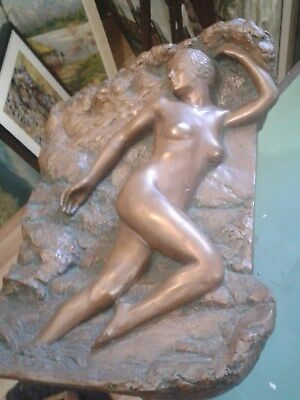 french art nouveau nude plaster plaque, after Francois Rupert Carabin 21/750