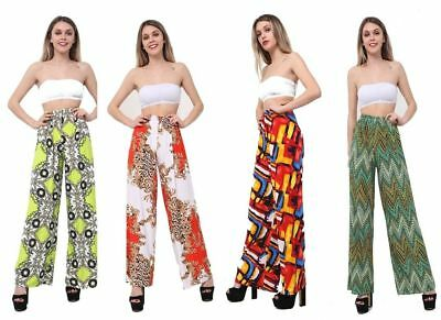Womens Wide Leg Printed Trousers Ladies Stretchy High Waist Plazzo Plus Size
