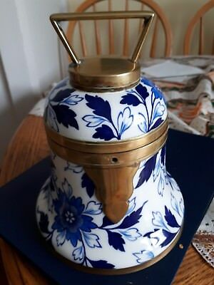 1883 rare bell shape porcelain & brass english humidor 8 x 7 in.