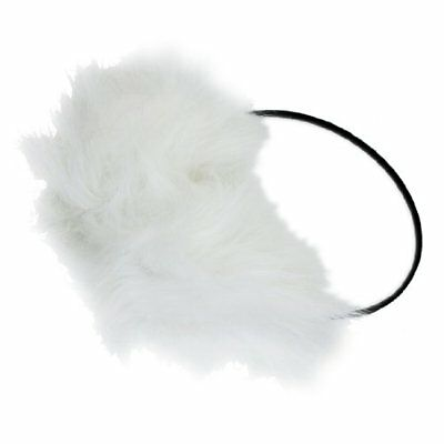 uxcell Soft Long White Faux Fur Pad Black Plastic Frame Ear Muffs