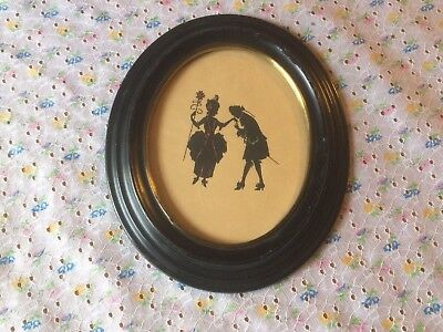 Antique Vintage Revolutionary Era  Couple Silhouette Green Red Trim Oval Frame