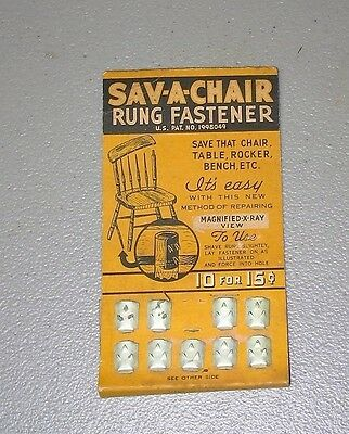 Vintage Sav-A-Chair Advertising card Rung Fastner 10 for 15 cents