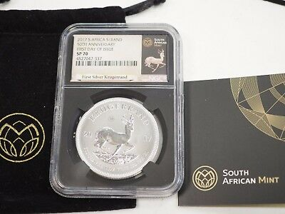 2017 South African 1 oz Silver Krugerrand COA & Pouch First day NGC SP 70 #310