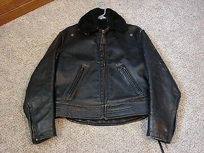 Vintage Cal Leather Horsehide Chips Motorcycle Jacket snap on Mouton collar 38