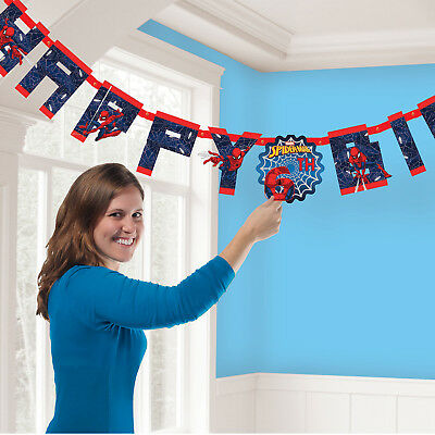 Spiderman Happy Birthday add AGE Banner Party Decoration Super Heros Bunting