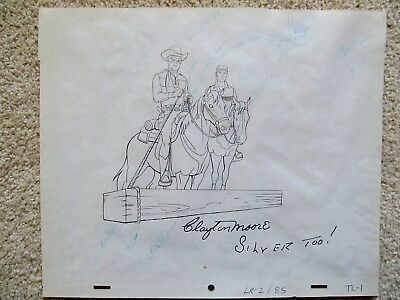 Clayton Moore - Lone Ranger Signed Filmation Animation Drawing