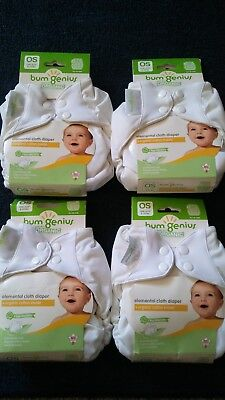 bumGenius 4 Elemental Cloth Diaper, All in One, OS, White, NWT.