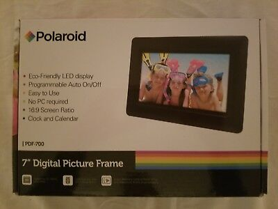 """Polaroid 7"""" Digital Picture Frame with clock and calendar - Brand new open box"""