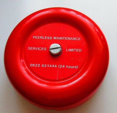 """PEERLESS RED SMOKE FIRE ALARM ELECTRONIC RED BELL 6"""" INCH 24v DC ."""