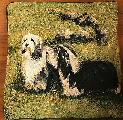 Jacquard woven Cushion with Bearded Collie Dogs - New