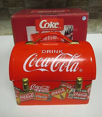 Coca-Cola Ceramic Lunchbox Cookie Jar + Original Box Construction Worker Style