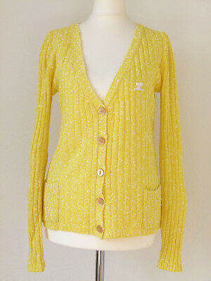 Courrèges Paris Vintage Cardigan Strickjacke Knit 60er 70er Gelb + OVP 38 M