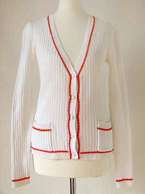 Courrèges Paris Vintage Cardigan Strickjacke Knit 60er 70er Weiß Orange + OVP 36