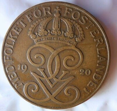 1920 SWEDEN 5 ORE - Excellent Collectible Coin - FREE SHIP - Sweden Bin #2