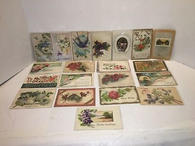 Lot of 21 Vintage Antique Embossed Postcards / Greeting Cards - Early 1900's