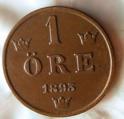 1893 SWEDEN ORE - Excellent Collectible Coin - FREE SHIP - Sweden Bin #2