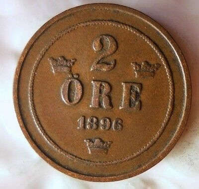 1896 SWEDEN 2 ORE - Excellent Collectible Coin - FREE SHIP - Sweden Bin #2
