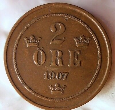 1907 SWEDEN 2 ORE - Excellent Collectible Coin - FREE SHIP - Sweden Bin #2
