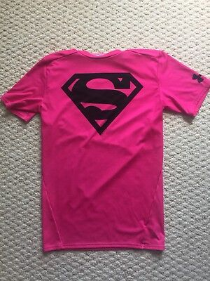 Under Armour Pink Superman Heat Gear Compression Shirt Size Youth Large