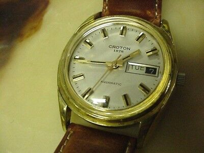 Vintage Mens Croton Automatic Swiss Made Wrist Watch,aquamatic,day/date,running