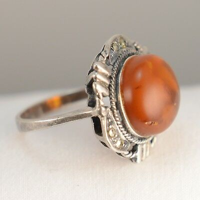 Vintage Silver Ring flower with Amber stone & Marcasite sz. 6.5
