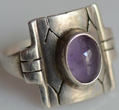 Vintage Sterling Silver Ring With Amethyst Stone 925 Stamped