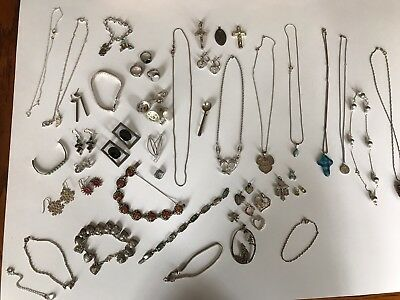 Vintage Lot Of 283 Grams Sterling Silver Jewelry All Wearable Rings Plus More