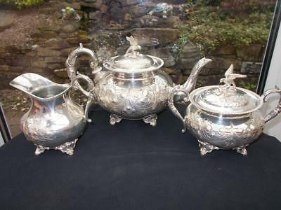 Superb Victorian Silver Plated 3 Piece Rococo Style Tea Set Turton & Co 1880S