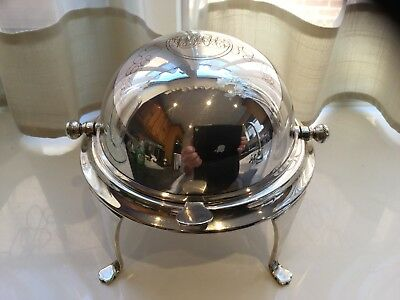 Lovely Antique Barker Brothers Silver Plated Paw Footed Roll Top Butter Dish
