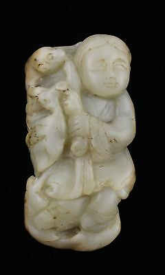 Qing Dynasty Nephrite White Jade Traveller with Monkey Toggle
