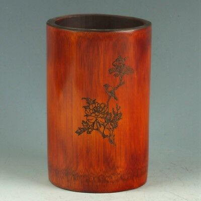 Chinese Bamboo Wood Handwork Carved Flower & Bird Brush Pot MY0421