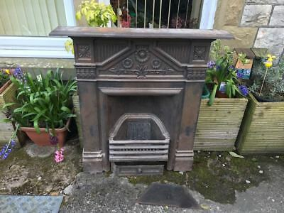 Genuine Antique Victorian cast iron fireplace daisy design larger model vgc
