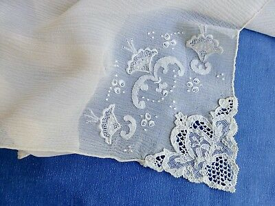Antq vtg Brussels point de gaze lace embroidery dress hanky handkerchief wedding