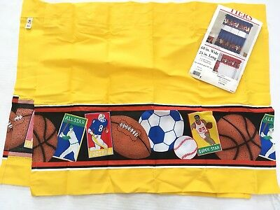 Vtg USA Sports Curtain Tiers 2 Panel 60 x 24 Baseball Football Basketball Soccer