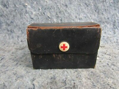 Nice Early Field Leather RED CROSS Kit with Bottles and Bandages Very Neat