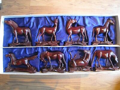 8 carved wood horses ornaments box set