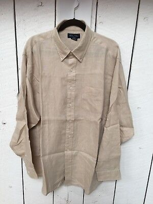 Brooks Brothers Irish Linen beige long sleeve shirt Size XL