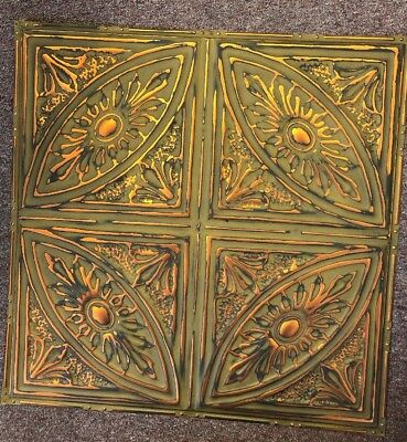"""(1)#124 Green/Copper Nail-up/Glue-up Tin Ceiling Tiles (REAL METAL/TIN)24"""" X 24"""""""