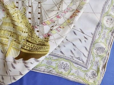 Vtg 30s 40s printed wool scarf-nautical/sailing ship galleon signed CMR (CMB?)