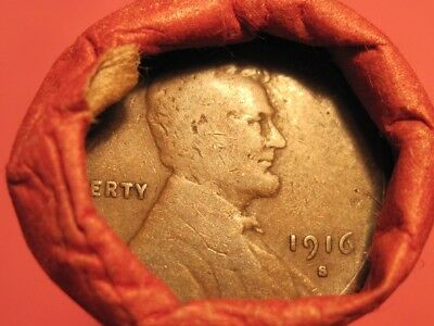 Mixed Teens & Twenties Roll 1916-S Lincoln Wheat Cent & 1925-S Wheat Cent (ends)