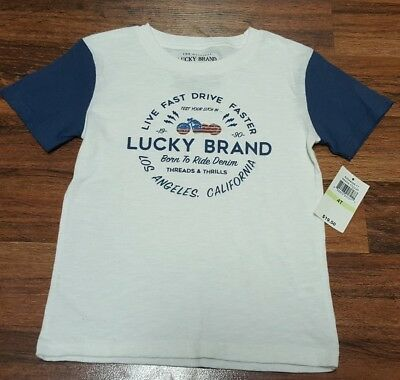 NEW LUCKY BRAND Boys Patriotic Motorcycle Ride Logo Tee Shirt •Size 4T
