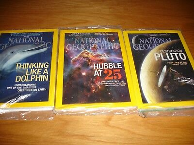 3 x National Geographic magazines Apr, Jul, May 15 All sealed Dolphins, hubble