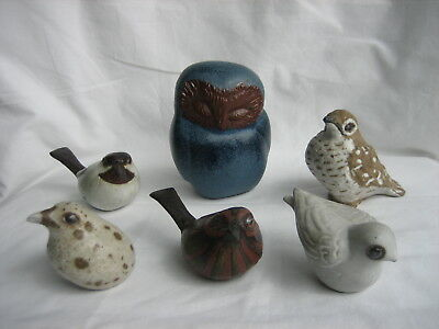 Andersen Designs Studio Pottery - E. Boothbay Maine - Bird-Owl-Gull Figurines